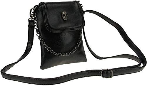 Womens Skull Crossbody Phone Bag PU Leather Change Bag Cellphone Shoulder Bags with Strap Ladies Wallet Mini Messenger Bag Leather Coin Cell Phone Purse Handbag Sling Bag Card Key Storage Bag
