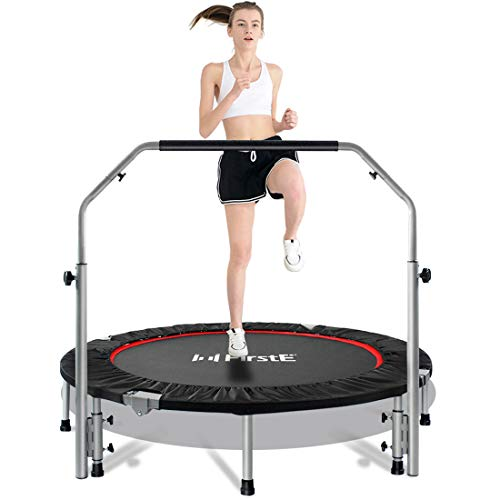 """FirstE 48"""" Foldable Fitness Trampolines, Rebound Exercise Trampoline with 4 Level Adjustable Heights Foam Handrail, Jump Trampoline for Kids and Adults Indoor&Outdoor, Max Load 440lbs Silver"""