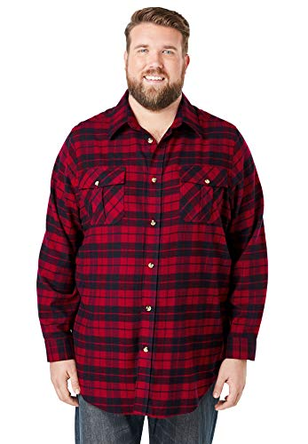 KingSize Men's Big & Tall Plaid Flannel Shirt - Tall - 5XL, Rich Burgundy Plaid