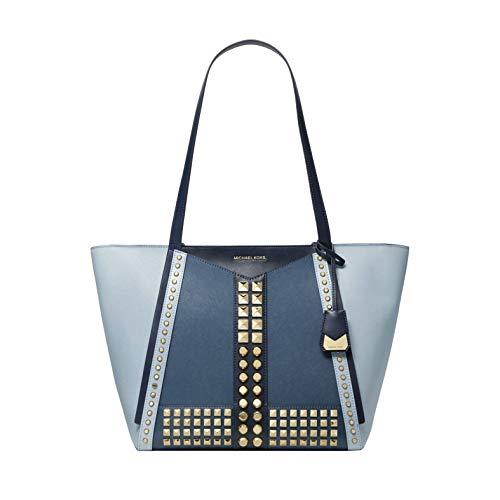 "Tri-color Pale Blue saffiano leather. Zip fastening. Exterior details: Front slip pocket ; Gold-tone hardware. Interior details: back zip pocket, 2 back slip pockets, 6 front slip pockets ; polyester lining. Double handles drop: 11.5"" ; 17.5""W X 11""H..."
