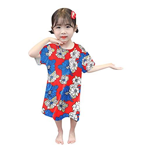 Kinder Baby Pyjamas Kleidung,Mädchen Blumen Cartoon T-Shirts,Sommer Niedlich Kurzarm Komfortabel Prinzessin Kleid Pyjamarock Nachtwäsche Säugling Bodysuit Playsuits für Geschenk Festlich Kostüm