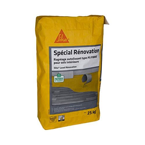 Sika Level Rénovation, Ragréage autolissant fibré pour sols intérieurs, 25kg, Gris béton