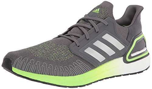 adidas mens Ultraboost 20,Grey/Silver/Signal Green,13 M US
