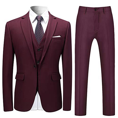 Allthemen Herren Slim Fit 3 Teilig Anzug Modern Sakko für Business Hochzeit Party Weinrot Large