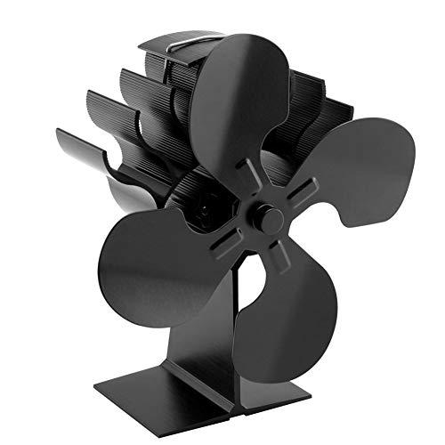 HkFcle Actualización Estufa Ventilador for Estufa de leña - Ventilador con el Medio Ambiente for el Quemador de Registro/Estufa/Chimenea - el Medio Ambiente (Negro)