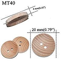 30個の自然な色の椿の木の穀物木製のボタン15mm 18mm 20mm縫いスクラップブッキング服のための手作り2つの穴ボタン (Color : MT40 20mm)