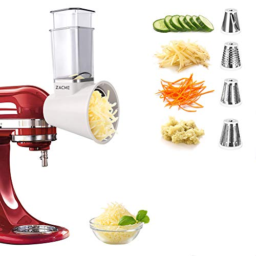 Slicer/Shredder Attachments for KitchenAid Stand Mixers, Food Slicers Cheese Grater Attachment, Salad Maker Accessory Vegetable Chopper with 4 Blades Dishwasher Safe