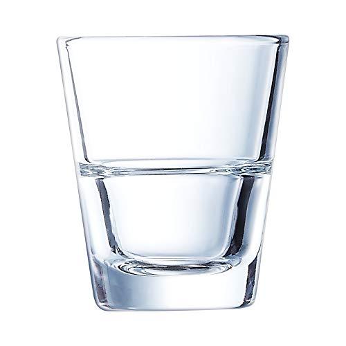 Arcoroc ARC L0429 Stack Up Schnapsglas, Shotglas, Stamper, 45ml, mit Füllstrich bei 2cl + 4cl, Glas, transparent, 12 Stück
