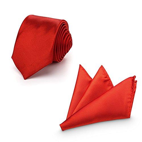 Rusty Bob - Krawatte mit Einstecktuch (in vielen Farben) - für die Verlobung, die Hochzeit - Schlips mit Taschentuch für das Sakko - 2er-Set (Rot-Fuchsia)