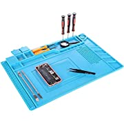 Anti-Static Soldering Mat, YUMQUA Magnetic Project Mat (11 x 17 inch) Silicone Heat Resistant Insulation Solder Mat Pad Welding Repair Tools Kit for Soldering Iron, Watch, Phone and Computer Repair