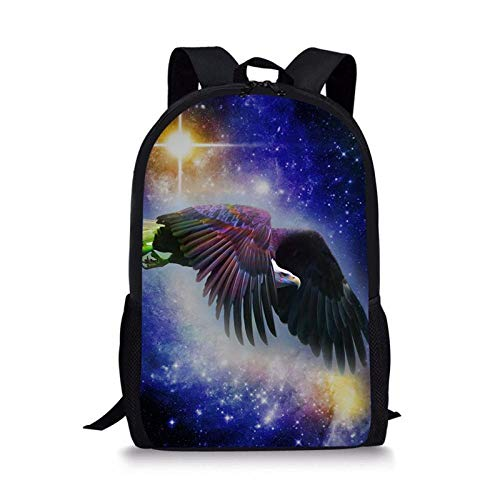 Fashion Universe Space Galaxy Women School Bag Children Book Bag for Primary School 3D Eagle Printing Backpack B