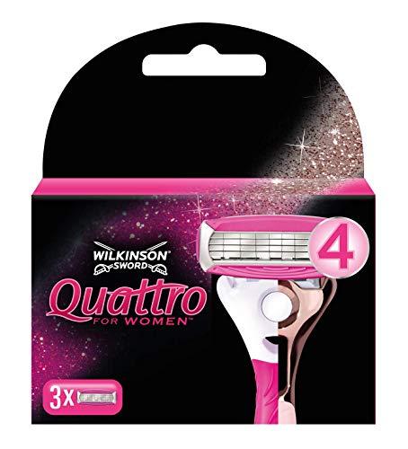 Wilkinson Sword Quattro for Women Rasierklingen für Damen Rasierer, 3 Stück