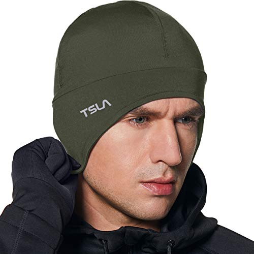 TSLA Men and Women Thermal Fleece Lined Skull Cap, Winter Ski Cycling Cap Under Helmet Liner, Cold Weather Running Beanie Hat, Skull Cap with Ear Cover(yzc31) - Green, One Size