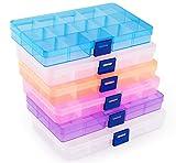 ilauke 6Pcs Boîte De Rangement, Transparents en Plastique Bijoux Container Accessoires Organisateur pour Collier, Boucles d'oreilles, Pilules à Usages (15 Compartiments, 5 Couleurs)