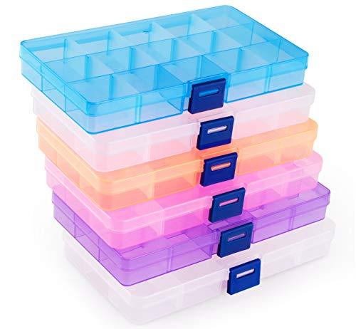 ilauke Fächer Aufbewahrungsbox, Plastik Aufbewahrungsbox in 5 Farben Sortierbox Sortimentsboxen Einstellbar Fächer für Schmuck Veranstalter Perlen Ohrring - 15 Raster*6 Stück