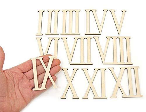 12 números romanos de madera para decoración de manualidades 7cm high Madera.