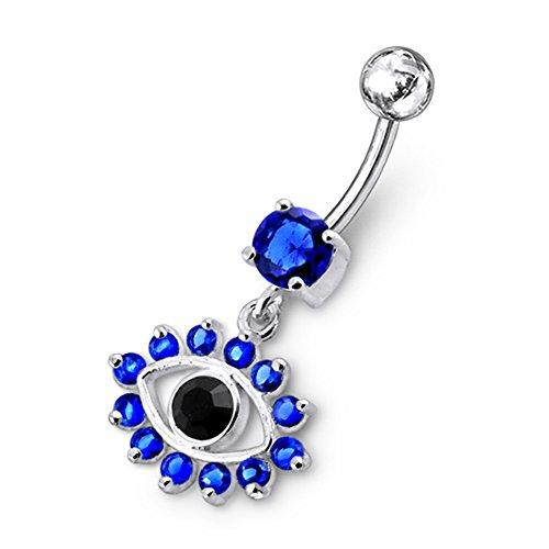 Dark Blue Crystal Stein Trendy Auge Design Sterling Silber Bauch Bars Piercing