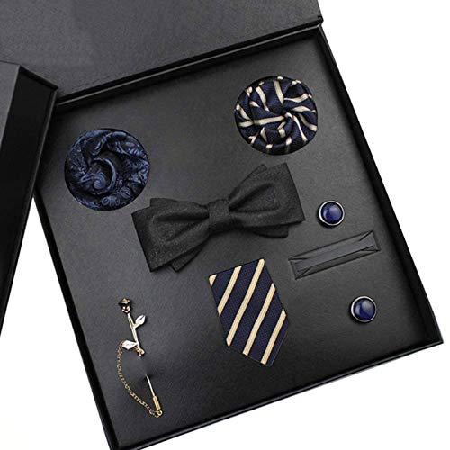 STBAAS Corbata para Hombres, Corbata de arqueamiento, Bufanda Cuadrada, puño, Broche, Cinco Juegos de Caja de Regalo, Adecuado para Regalos de cumpleaños de Fiesta de Negocios Formales para mi Amigo