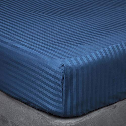 Belledorm - Drap-Housse Satin Stripe Extra Deep (Single) (Bleu Marine)
