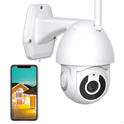 Cámara IP WiFi de Vigilancia Exterior CCTV Cámara PTZ 360°Girar High-Definition 1080P,Visión Nocturna,Detección de Movimient,Alarma de APP,Audio Bidireccional,Impermeable IP66,iOS/Android 【Cámara+32G】
