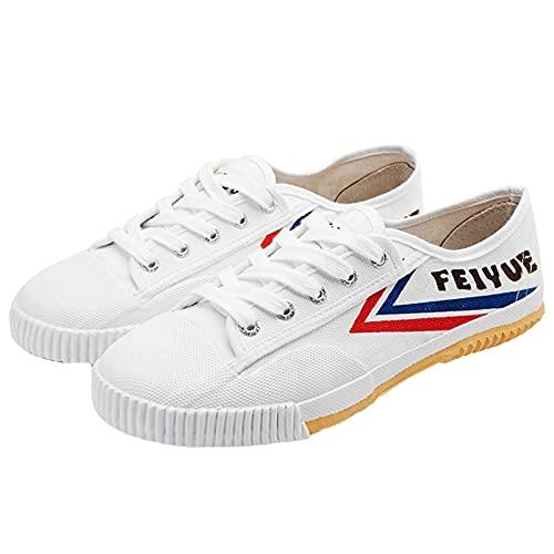 Willsky Zapatos De Artes Marciales, Tai-Chi Zapatillas De Deporte De Los Adultos Clásico Kung Fu Zapatos De Lona Antideslizante Moda Qigong Formadores,Blanco,40