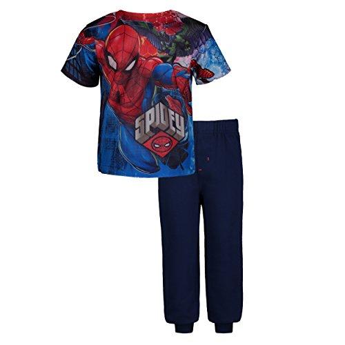 Marvel Avengers Spiderman Toddler Boys' Mesh T-Shirt & French Terry Pants Clothing Set (2T) Blue