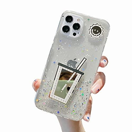 Miagon Glitter Paillette Brillant Coque pour iPhone 6/6S,Fille Femme Transparent Cover Scintillait Étoile Silicone Flexible Étui Housse,Tasse Clair