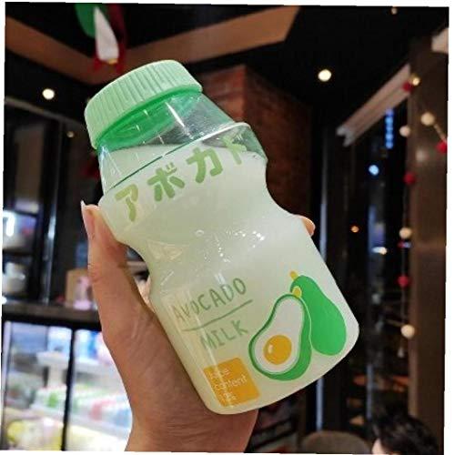 AMOYER Botella Fresa de Kawaii Botella de Agua portátil a Prueba de Fugas Transparente de consumición por Muchacha de los niños 480ml Azar