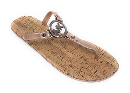 Michael Kors MK Charm Jelly PVC Flip Flop Sandal, Sable (9M)