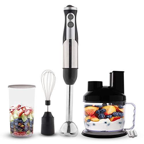 Domaier - Mixeur Plongeant, Blender à Main,avec hachoir 700ml, trancheuse, déchiqueteuse, fouet, couvercle de mélange et pot, Noir,Matériau: Plastique ABS,800W