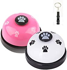 JIMEJV Set of 2 Pet Training Bells, Dog Door Bells for Go Outside Potty Training and Communication Device with Whistle Puppy Interactive Toys