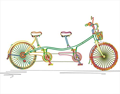 Tcoapy Tandem 5D DIY Diamond Painting Kits Tandem Bike Bicycle Multicolor Full Drill Painting Cross Stitch Craft for Home Wall Decor Adults Kids 12'x16'