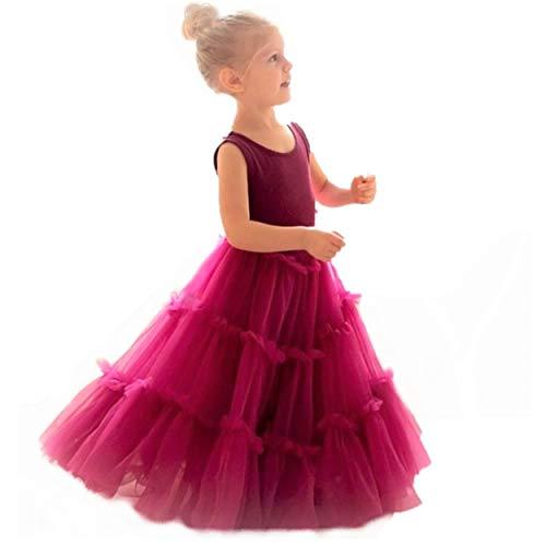 Jennifer and June Sugar Plum Fairy Fluffy Princess Ballerina Twirling Toddler Girl Special Occasion Dress. (Burgundy Plum, 5T-6X)