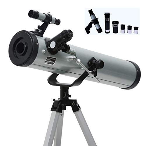 XBSLJ F70076 Teleskop, Reflektorteleskop, Kinderteleskope für die Astronomie, tragbares Reiseteleskop, Sucherfernrohr Barlow-Objektiv & 3 Okulare & verstellbares Aluminiumstativ