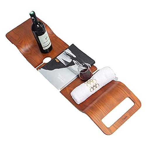 XWSM Holz Badewannenablage Badregal Personalisierte Buchablage Weinglashalter Handy Tragbares Badezimmerzubehör Für EIN Zuhause Passend Für Die Meisten Badgrößen Duschbank Für Die Innendusche