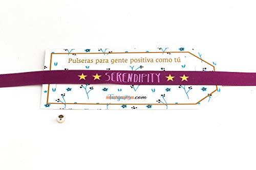 Tarja 73 | Pulseras de Tela con frases molonas: SERENDIPITY | Regalo Original | Ideal Para Bodas, Aniversarios, Fiestas