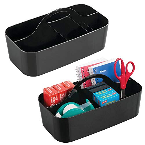 mDesign boîte de Rangement avec poignée (Lot de 2) – Rangement pour Bureau et Papeterie en Plastique – Organiseur de Bureau à 6 Compartiments pour Crayons, Ciseaux, etc. – Noir