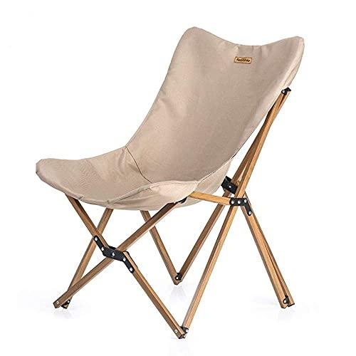Camping Stuhl Heavy Duty, Tragbarer Ultraleichter Camping Stuhl Outdoor Freizeit Klapp Picknick Stuhl Holzmaserung Nickerchen Angeln Strand Stuhl Meer, Khaki Outdoor