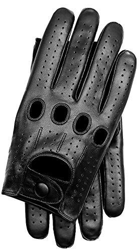 Riparo Gants de Conduite de Voiture en Cuir pour Hommes Gants en Cuir à écran Tactile à Doigt Complet (M, Noir)