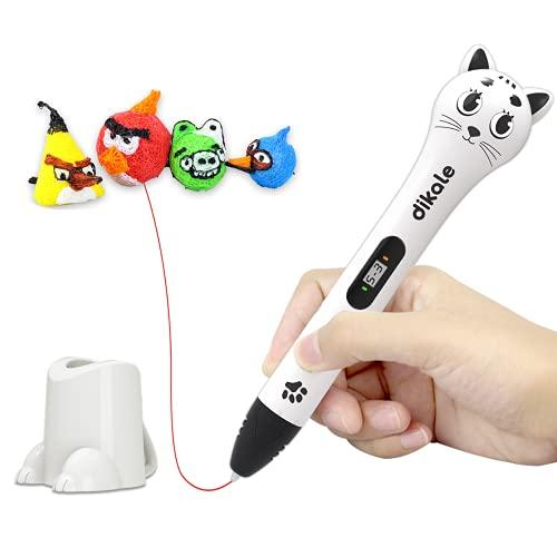 Dikale 3D Stift für Kinder mit PLA Filament 12 Farben,120 Fuß und 250 Schablone eBook für Kritzelei, Basteln, Zeichnung, Kunstwerk, Geburtstags Kinder und Erwachsene