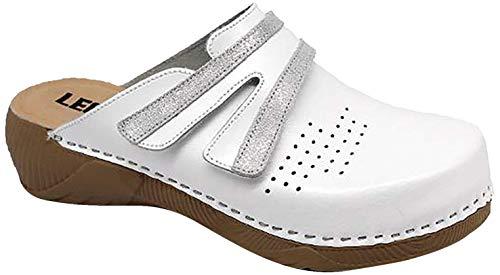 LEON 3200 Zuecos Zapatos Zapatillas de Cuero para Mujer