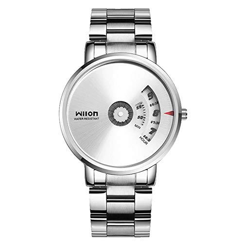 Relojes De Pulsera Reloj De Cuarzo Digital De Tendencia Coreana Reloj De Pulsera De Acero Simple Casual para Hombre, Blanco