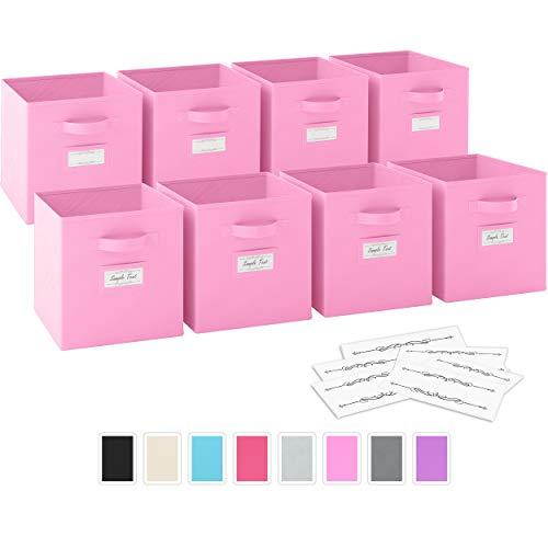Ordnungsbox - 8 Boxen Aufbewahrung Set | Faltboxen Mit Zwei Tragegriffen & 10 Label Karten | Faltbare Kallax Boxen | Extra Stabile Stoffbox Als Kallax Einsatz | Kisten Aufbewahrung [Hell-Pink]