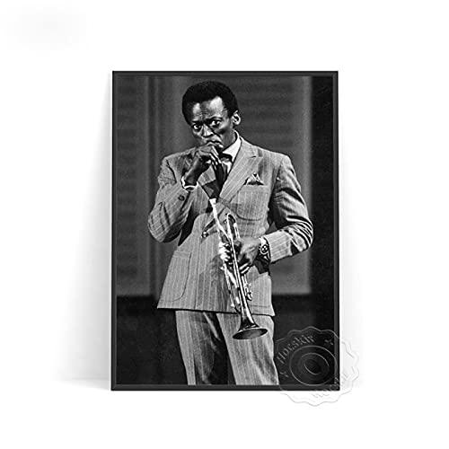 shuimanjinshan Miles Davis Poster Wall Decor Wall Stickers Stampe Poster Poster in Bianco e Nero Poster retrò Star Poster,(PW-2334) 50x70cm Nessuna Cornice