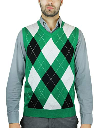 Blue Ocean Argyle Sweater Vest,Green,Large