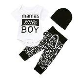 Neugeborenes Baby Junge 3 Pcs Kleider Brief Strampler Bodysuit Hose und Hut Set