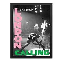 ハンギングペインティング - CLASH クラッシュ (London Calling40周年記念) - London Callingのポスター 黒フォトフレーム、ファッション絵画、壁飾り、家族壁画装飾 サイズ:33x45cm(額縁を送る)