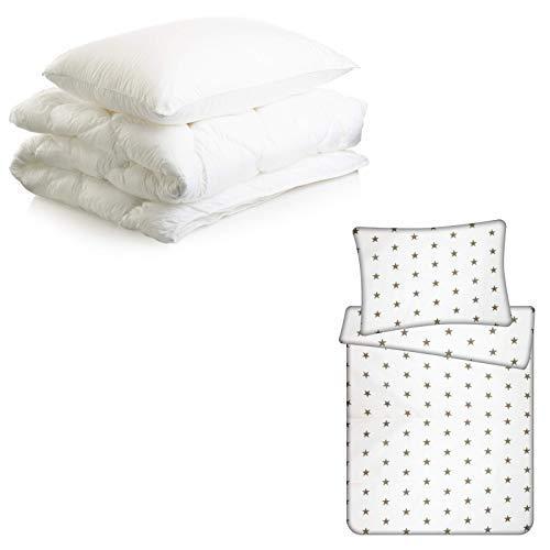 Kinderbettwäsche baby Bettwäsche Babybett Set - Kinderbettdecke bettdecke und Kissen mit Babybettwäsche 4-teilig (Komplett-Set 4tlg. - 100X135, Weiß mit grauen Sternen)