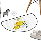 Kitchen Living Room Floor Mat Ocean Sea Marine Life Cartoon Like Fish with Stones and Moss Navy Image Art W47 x L31 Half Round Rugs for Sale