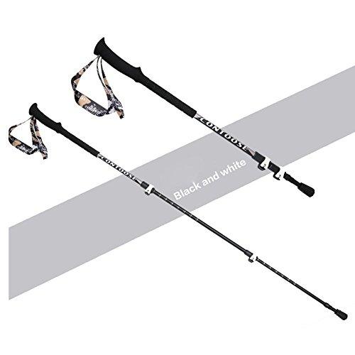 Lmzyan Manette droite télescopique extérieure Sticks de randonnée / Poteaux de marche, Alliage d'aluminium Hauteur réglable 65-135cm , black